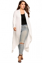 White Plus Size Long Sleeve Open Front Solid Draped Asymmetrical Long Cardigan