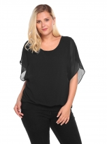 Black Plus Size Bell Sleeve Chiffon Patchwork Loose Fit Blouse
