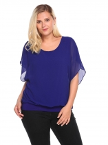 Blue Plus Size Bell Sleeve Chiffon Patchwork Loose Fit Blouse