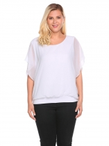 White Plus Size Bell Sleeve Chiffon Patchwork Loose Fit Blouse