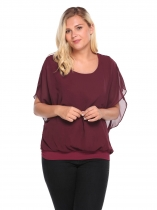 Wine red Women Batwing Sleeve Chiffon Patchwork Casual Blouson ajusté Taille Plus