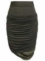 Army green Elastic Waist Ruched Mini Pencil Skirt Plus Size