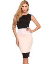 Black O-Neck Sleeveless Patchwork Sexy Bodycon Dress