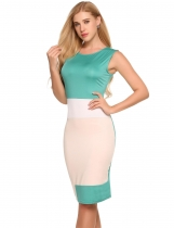 Green O-Neck Sleeveless Patchwork Sexy Bodycon Dress
