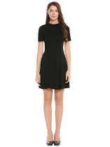 Black Stand Collar Solid Slim Dress