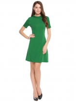 Dark green Stand Collar Solid Slim Dress