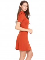 Orange Femmes Casual Collier à manches courtes Solid A-Line Pleated Pullover Robe sexy