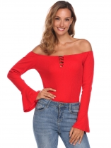 Red Women Fashion Slash Neck Long Trumpet Sleeve Solid Rib Casual Tops
