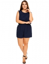 Navy blue Plus Size Sleeveless Backless Elastic Waist Solid Romper
