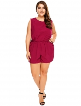 Wine red Plus Size Sleeveless Backless Elastic Waist Solid Romper