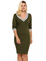 Army green Plus Size Contrast Trim Pencil Knitted Sweater Dress