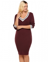 Wine red Plus Size Contrast Trim Pencil Knitted Sweater Dress