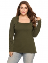 Army green Plus Size Casual Square Neck Long Sleeve Button T-Shirt
