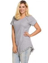 Gray Plus Sizes Short Sleeve Lace Trim Asymmetrical Hem T-Shirt