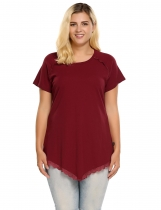 Red Plus Sizes Short Sleeve Lace Trim Asymmetrical Hem T-Shirt