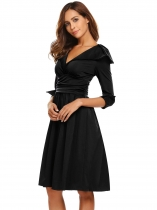 Black Turn Down Collar 3/4 Sleeve Ruched Casual Dress