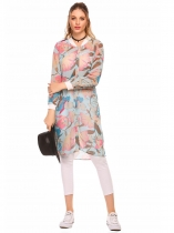 Multi-color1 Lightweight Long Sleeve Floral Print Long Chiffon Jacket