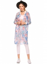 Multi-color2 Lightweight Long Sleeve Floral Print Long Chiffon Jacket