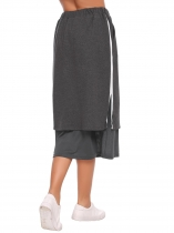 Dark gray Elastic High Waist Patchwork Pencil Skirt