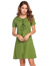 Army green O-Neck Short Sleeve Solid Loose Dress