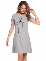 Gray O-Neck Short Sleeve Solid Loose Dress