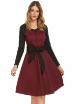Červená vína Women Square Neck Long Sleeve Contrast Color Patchwork Retro Pleated Dress