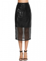 Black Casual Solid Back Zipper Sequined Split Hem Slim Skirt
