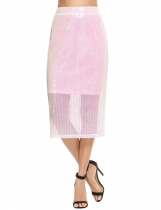 Light pink Casual Solid Back Zipper Sequined Split Hem Slim Skirt