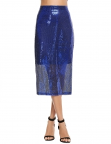 Royal Blue Casual Solid Back Zipper Sequined Split Hem Slim Skirt