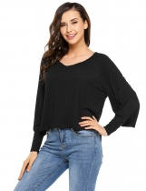 Black Batwing Long Sleeve Solid Casual Tops