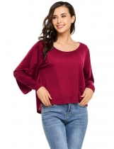 Wine red Batwing Long Sleeve Solid Casual Tops