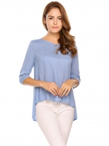 Light blue Keyhole Neck Solid Asymmetrical Hem Sexy Blouse