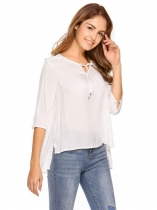 White Keyhole Neck Solid Asymmetrical Hem Sexy Blouse
