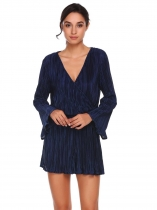 Navy blue Women Crossing Deep V Long Sleeve Elastic Waist Solid Ruffle Romper