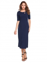 Dark blue Half Sleeve Solid Keyhole Split Hem Dress