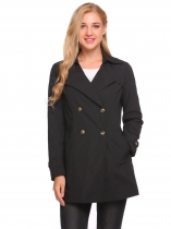 Black Solid Turn Down Collar Loose Wind Coat