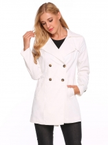 White Solid Turn Down Collar Loose Wind Coat