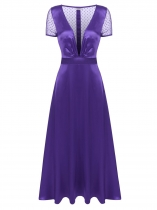 Purple Femmes Sexy Deep V Neck Back Perspective Mesh Patchwork Maxi Party Swing Dress