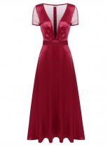 Wine red Plunge Neck Back Mesh Patchwork Maxi Dress