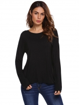 Black Back Cut-out O-Neck Long Sleeve Solid Tops