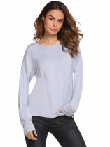 Grey Back Cut-out O-Neck Long Sleeve Solid Tops