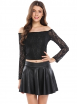 Black Off the Shoulder Back Bow Belt Long Sleeve Short Lace Crop Top