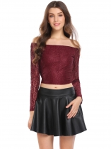 Wine red Off the Shoulder Back Bow Belt Long Sleeve Short Lace Crop Top