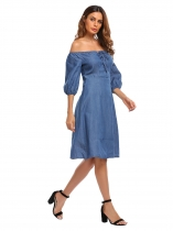 Blue Off the Shoulder Half Sleeve Solid A-Line Dress