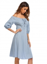 Light blue Moda de las mujeres fuera del hombro medio Lace-up Solid A-Line Dress