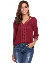 Vino Rouge Vinho Rouge Femmes Casual V-Neck 3/4 Sleeve Lace Patchwork Pullover Hollow Out Chiffon Sexy Blouse