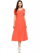 Orange Femmes avant et arrière V-Neck Short Sleeve Backless Side Pockets Loose Dress