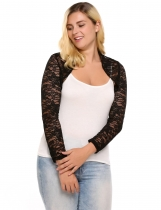 Black Plus Size Long Sleeve Lace Front Open Short Jackets