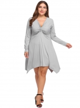 Grey Plus Size V-Neck Solid Sexy Asymmetric Dress