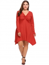 Red Plus Size V-Neck Solid Sexy Asymmetric Dress